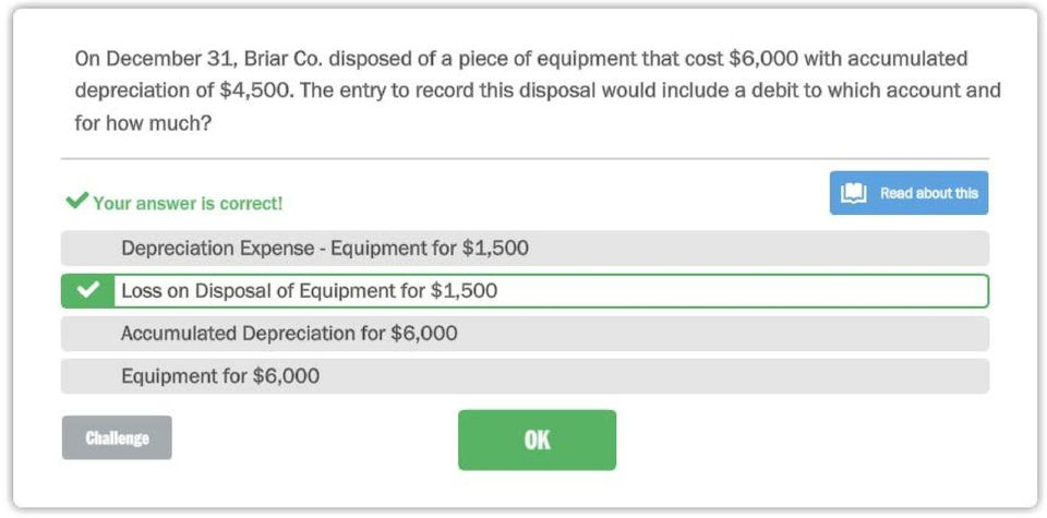 The entry to record this disposal would include a debit to which account and for how much? -.
