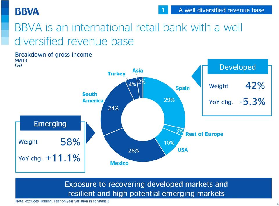 42% -5.3% Weight YoY chg. Emerging 58% +11.1% Mexico 28% 10% 3% USA Rest of Europe Note: excludes Holding.