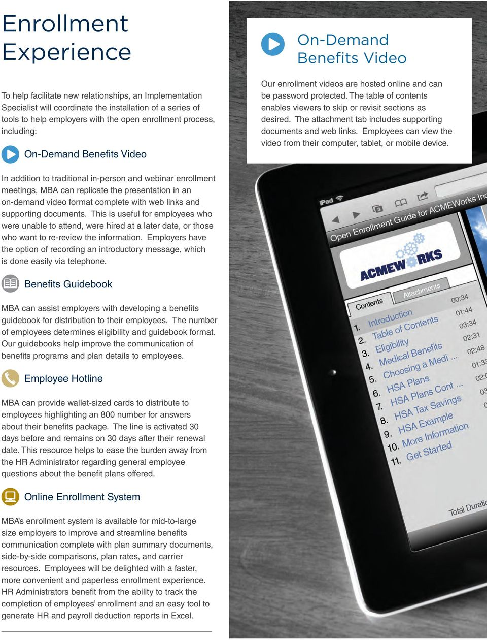The table of contents enables viewers to skip or revisit sections as desired. The attachment tab includes supporting documents and web links.
