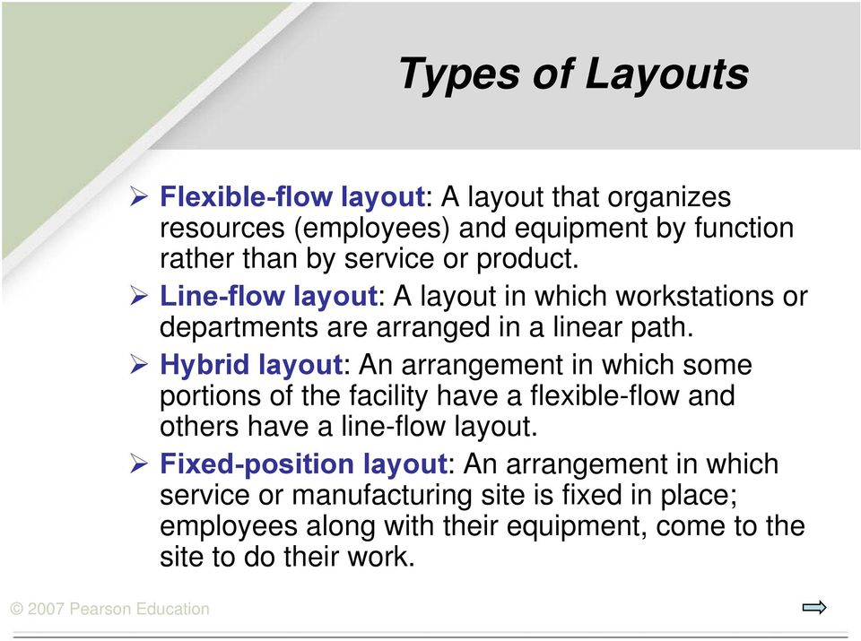 Hybrid layout: An arrangement in which some portions of the facility have a flexible-flow and others have a line-flow layout.