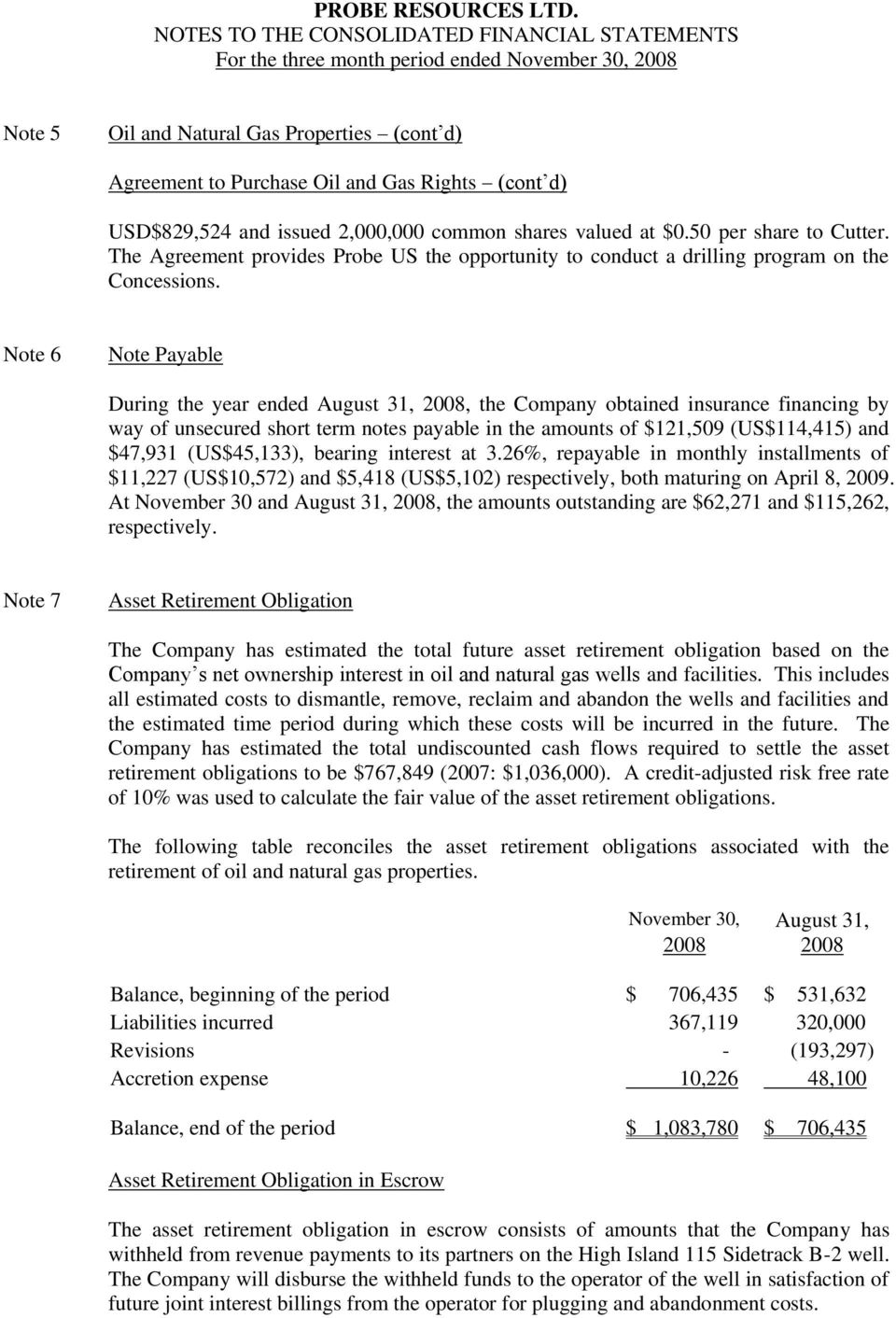 Note 6 Note Payable During the year ended August 31, 2008, the Company obtained insurance financing by way of unsecured short term notes payable in the amounts of $121,509 (US$114,415) and $47,931