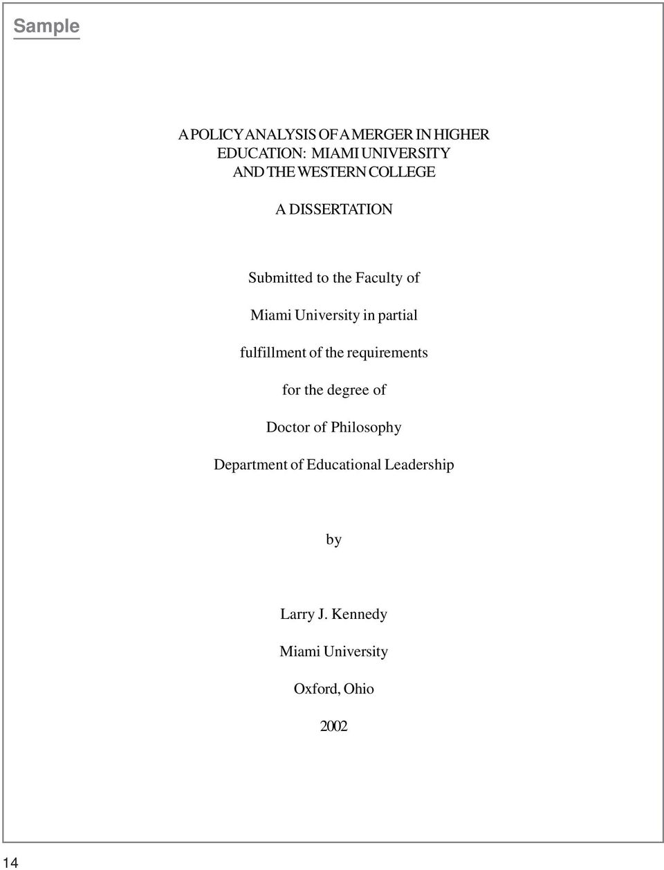 partial fulfillment of the requirements for the degree of Doctor of Philosophy