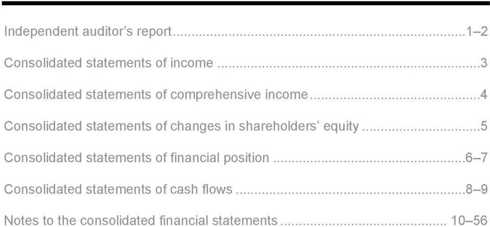 .. 4 Consolidated statements of changes in shareholders equity.