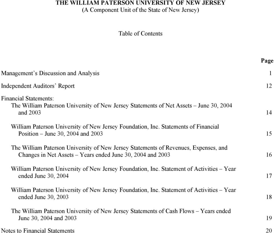 Statements of Financial Position 15 The William Paterson University of New Jersey Statements of Revenues, Expenses, and Changes in Net Assets Years ended 16 William Paterson University of New