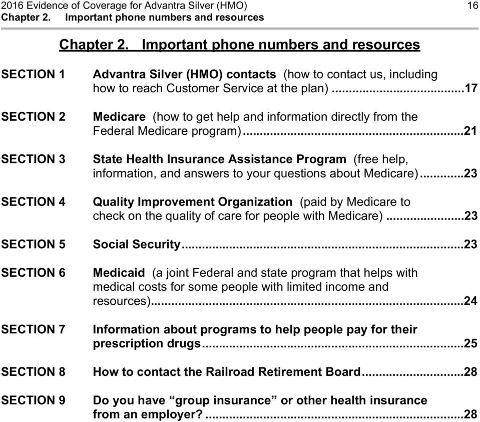 ..17 Medicare (how to get help and information directly from the Federal Medicare program).