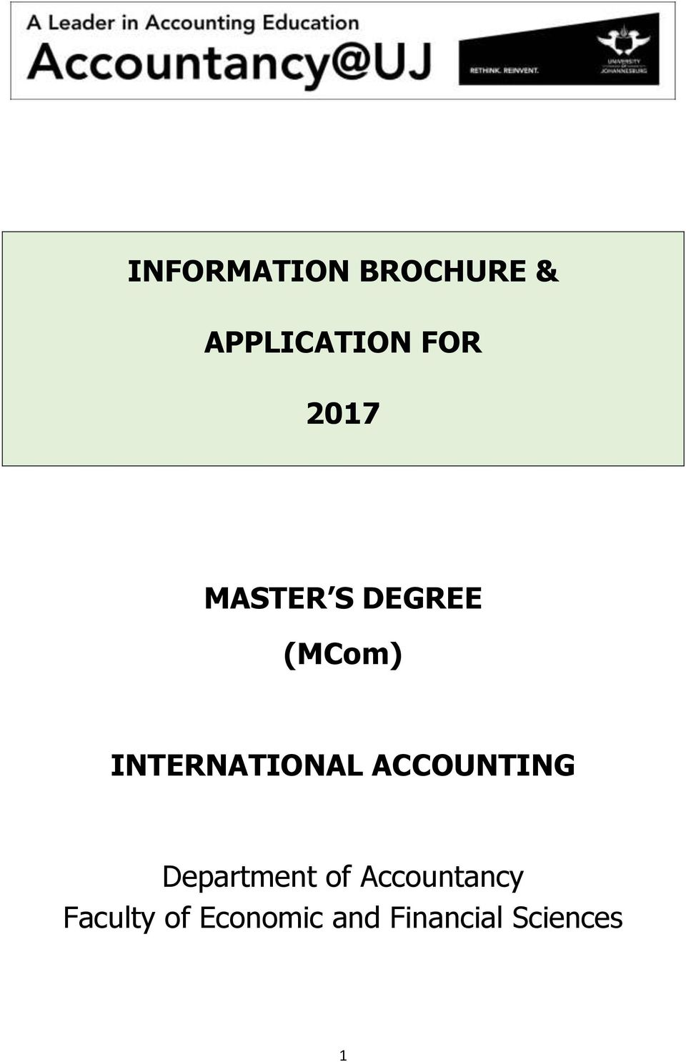 INTERNATIONAL ACCOUNTING Department of