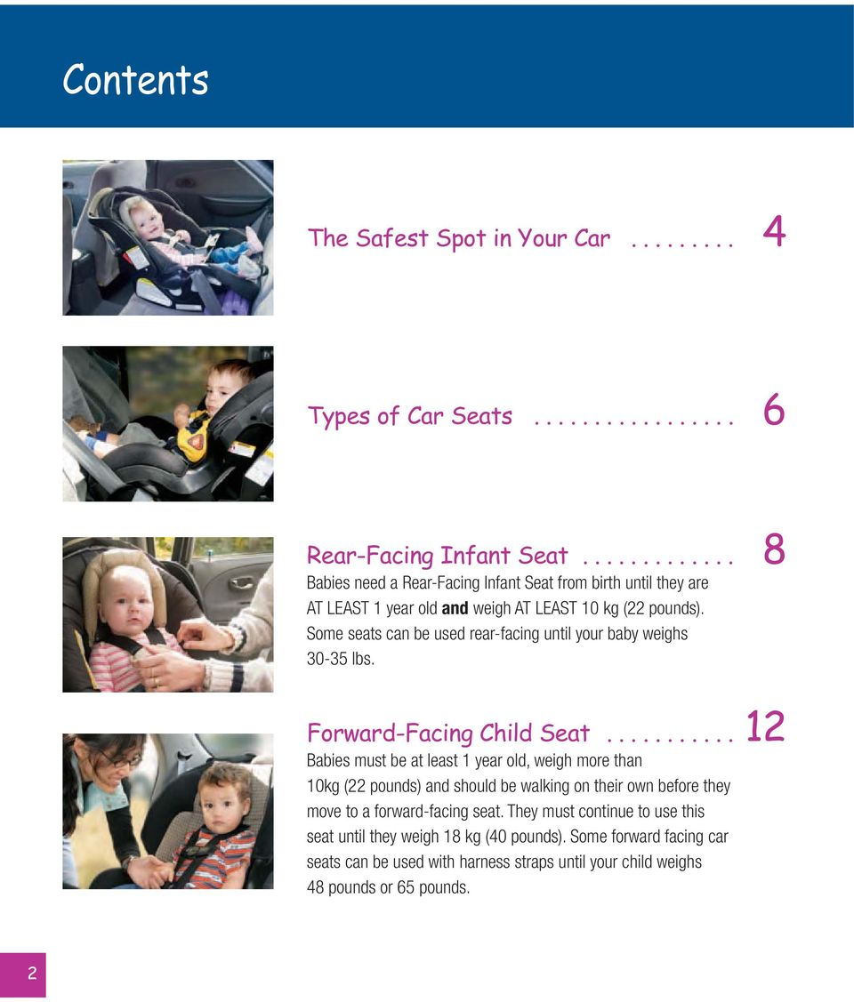 Some seats can be used rear-facing until your baby weighs 30-35 lbs. Forward-Facing Child Seat.