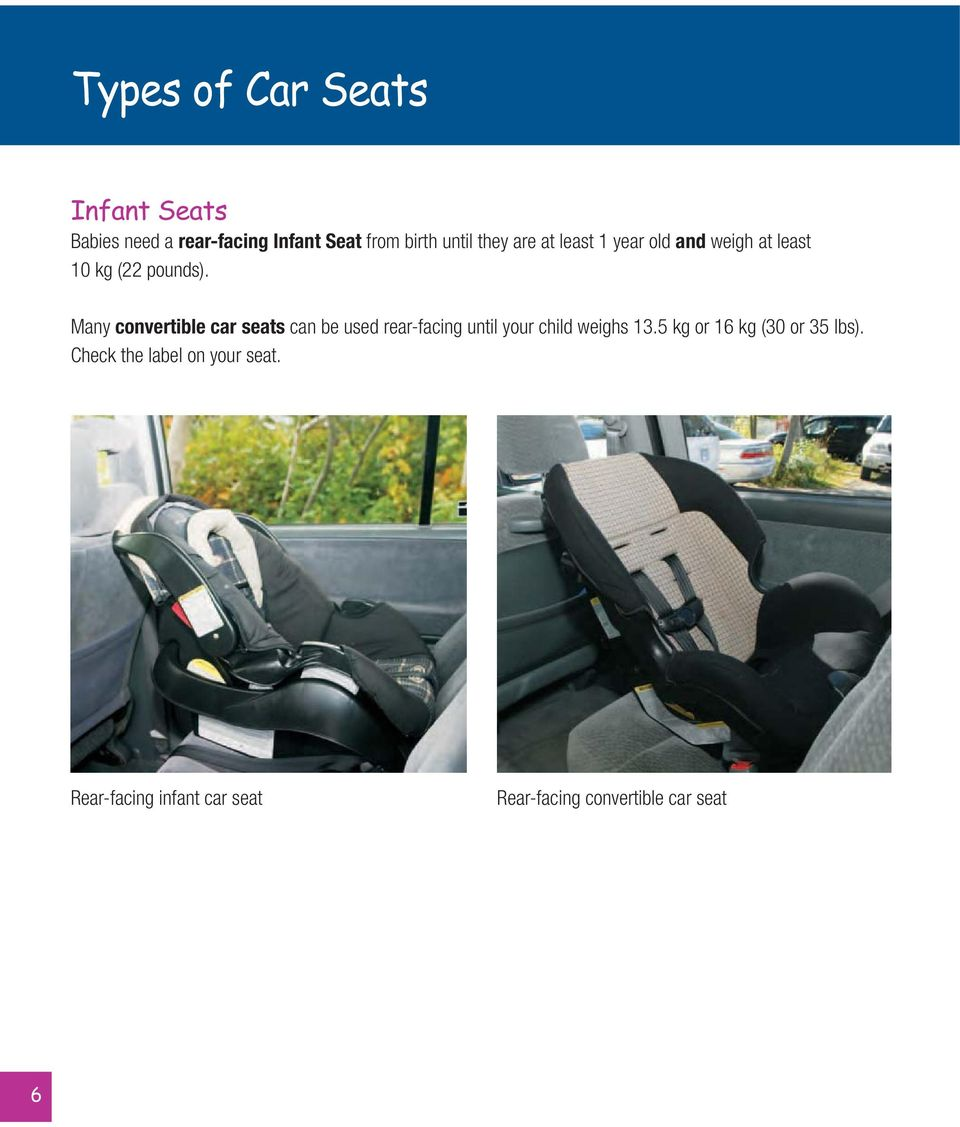 Many convertible car seats can be used rear-facing until your child weighs 13.