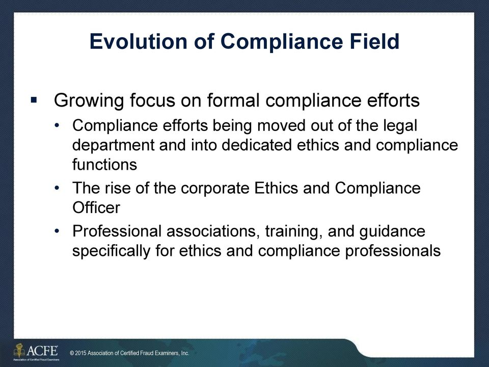 corporate Ethics and Compliance Officer Professional associations, training, and guidance