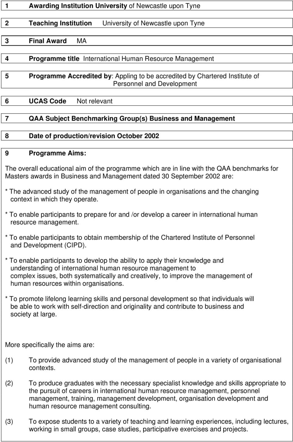 production/revision October 2002 9 Programme Aims: The overall educational aim of the programme which are in line with the QAA benchmarks for Masters awards in Business and Management dated 30