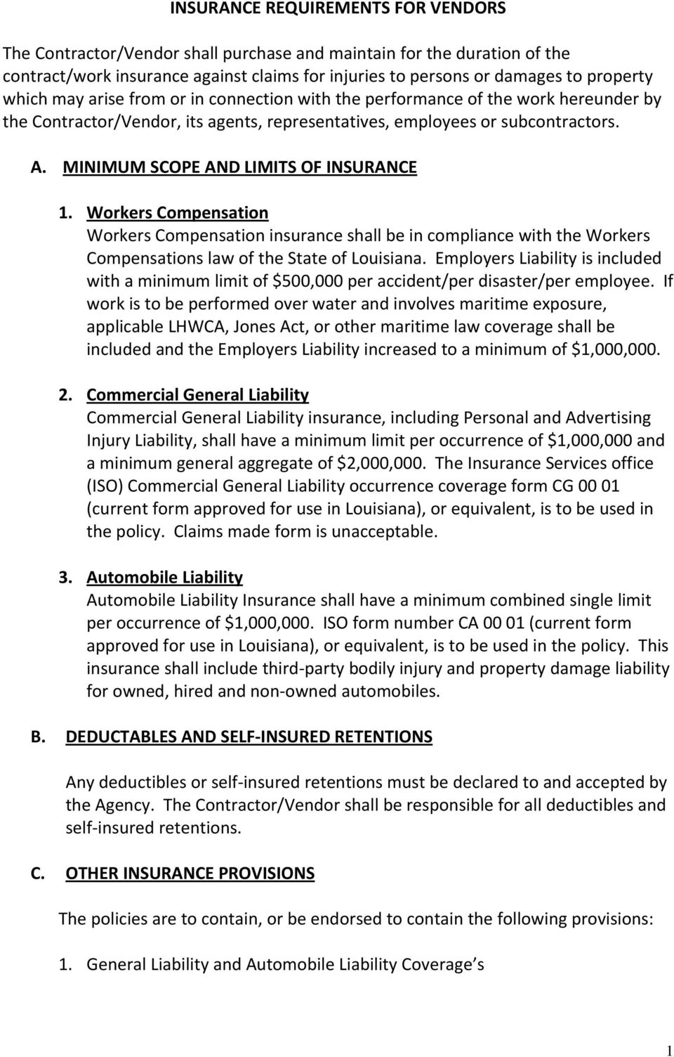 INSURANCE REQUIREMENTS FOR VENDORS - PDF