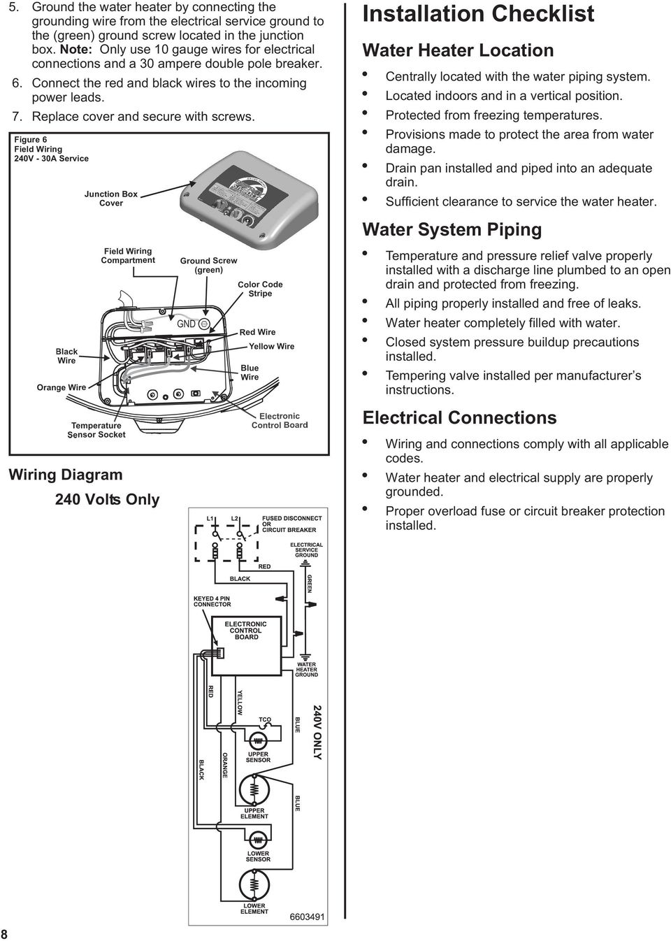 Figure 6 Field Wiring 240V - 30A Service Junction Box Cover Installation Checklist Water Heater Location Centrally located with the water piping system. Located indoors and in a vertical position.