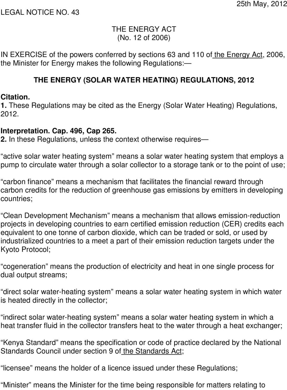 2012 Citation. 1. These Regulations may be cited as the Energy (Solar Water Heating) Regulations, 20