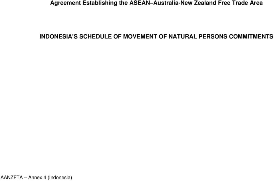 INDONESIA S SCHEDULE OF MOVEMENT OF