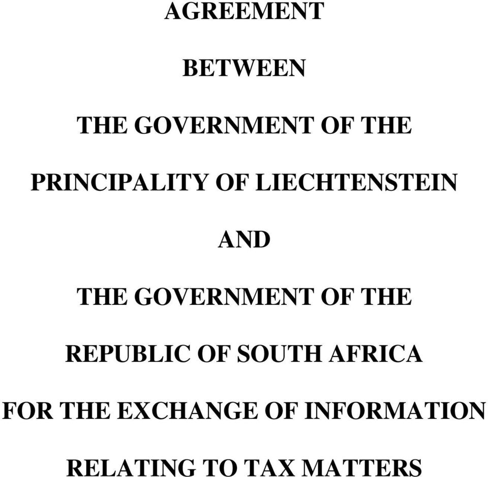 GOVERNMENT OF THE REPUBLIC OF SOUTH AFRICA