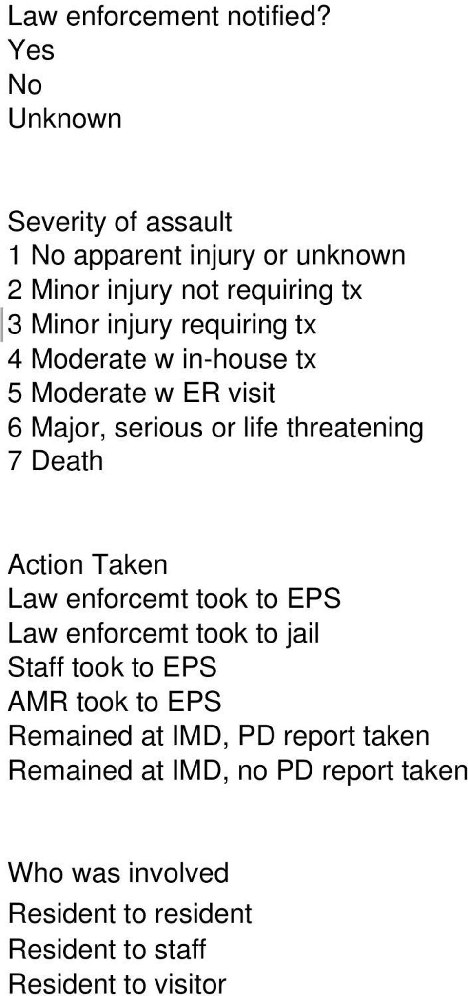 requiring tx 4 Moderate w in-house tx 5 Moderate w ER visit 6 Major, serious or life threatening 7 Death Action Taken Law