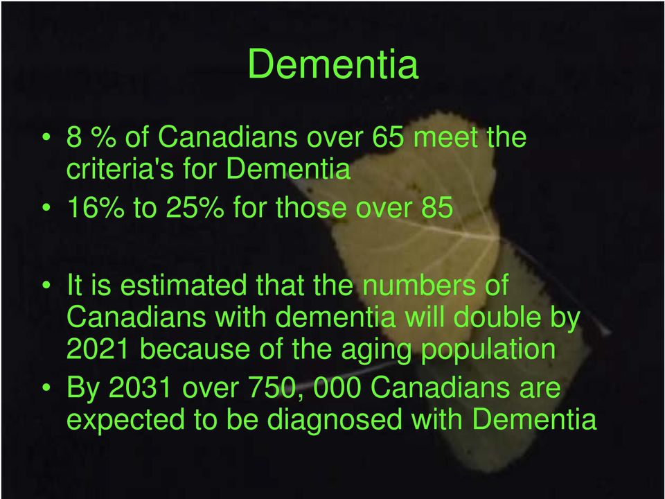 with dementia will double by 2021 because of the aging population By