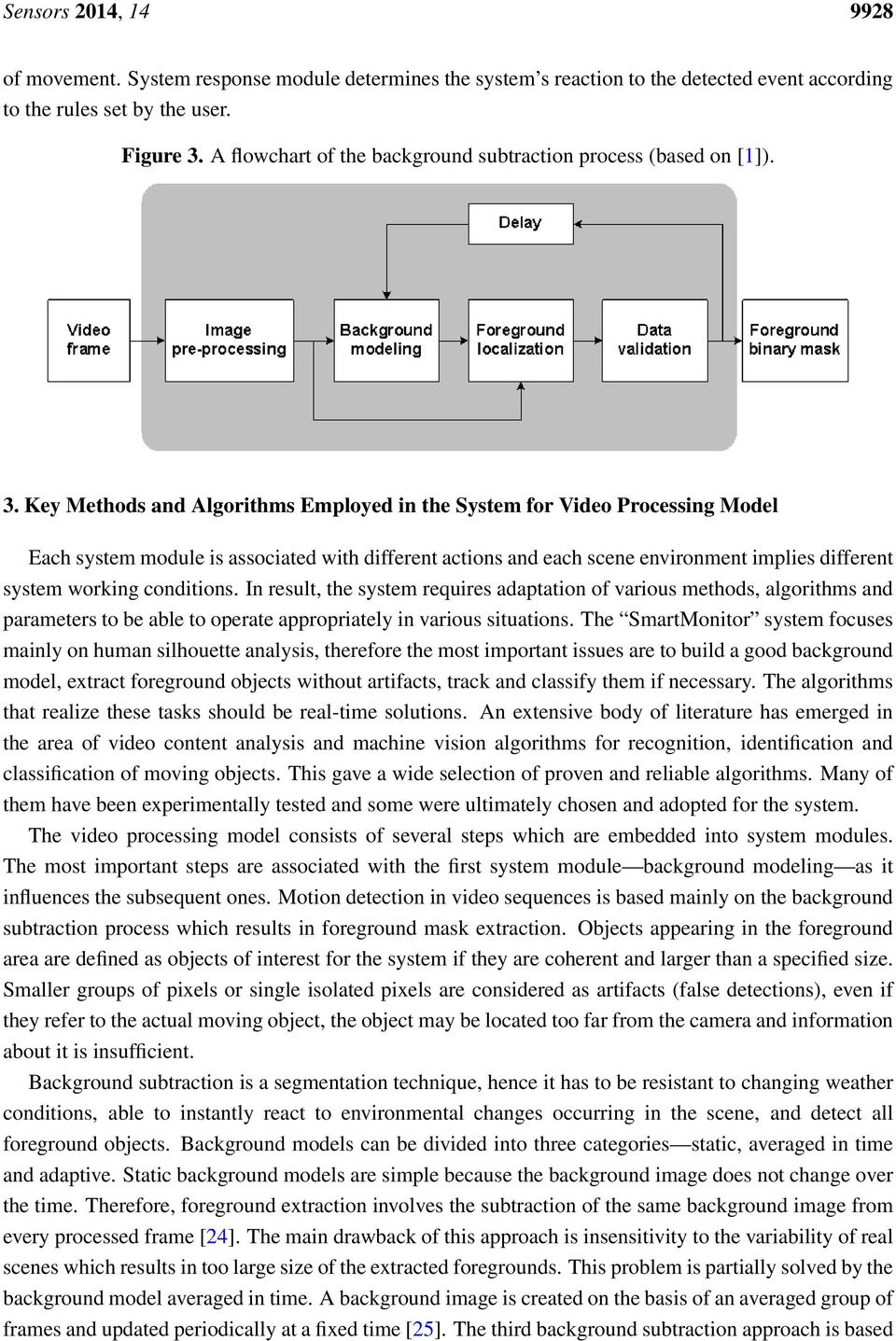 Key Methods and Algorithms Employed in the System for Video Processing Model Each system module is associated with different actions and each scene environment implies different system working