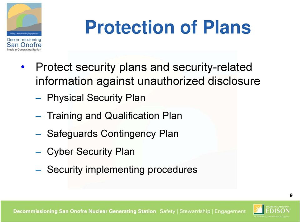 Physical Security Plan Training and Qualification Plan