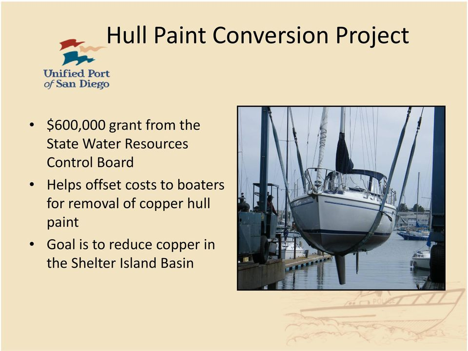 offset costs to boaters for removal of copper hull