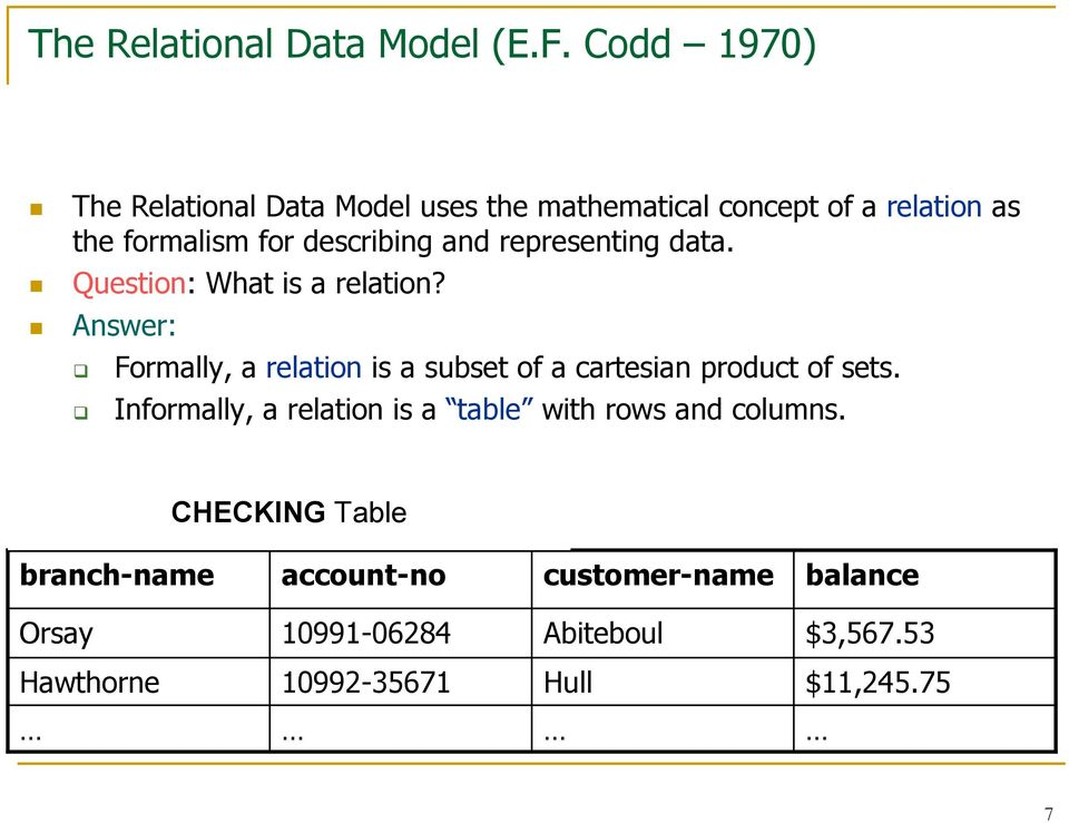 representing data. Question: What is a relation?