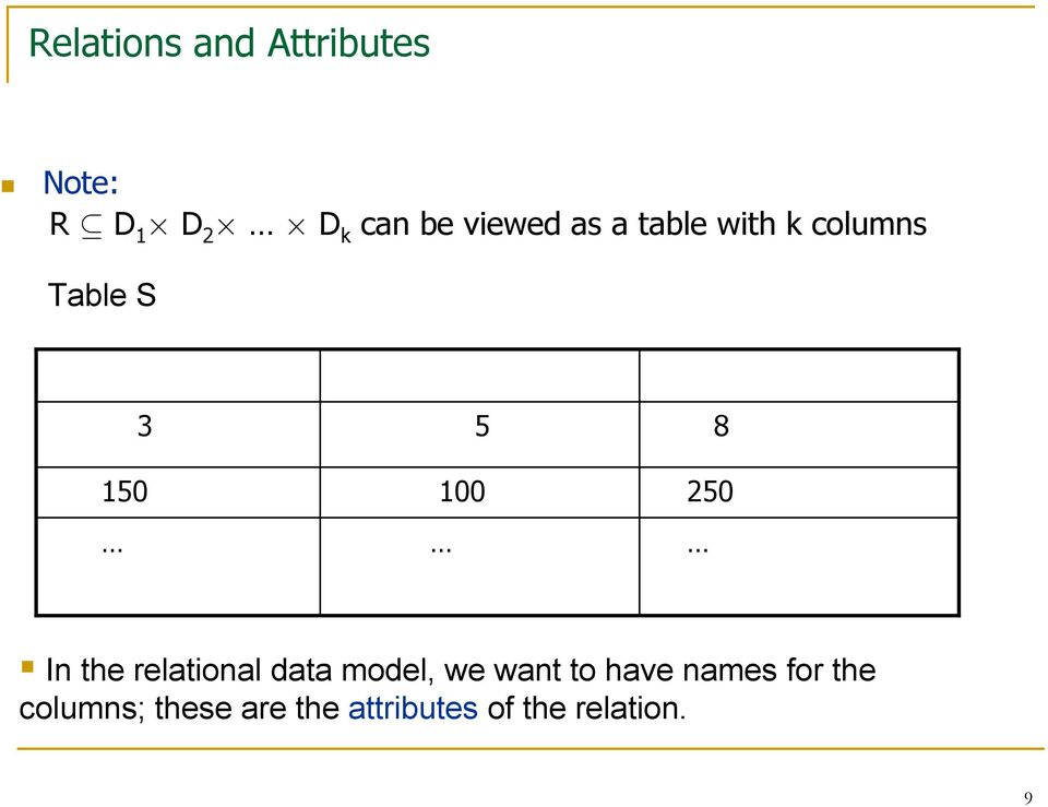 250 8 In the relational data model, we want to have