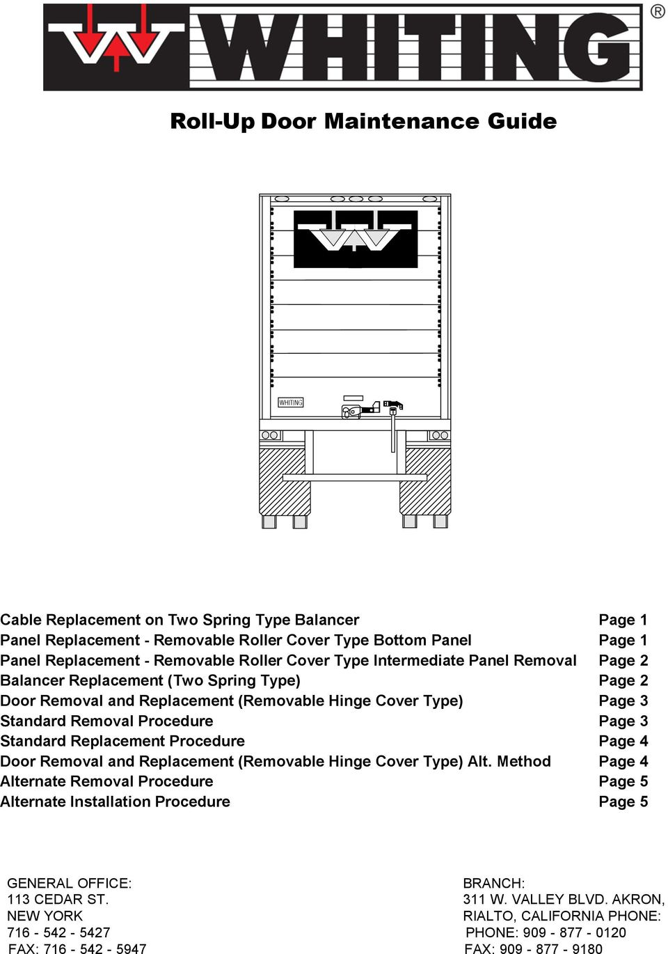 Procedure Page 3 Standard Replacement Procedure Page 4 Door Removal and Replacement (Removable Hinge Cover Type) Alt.