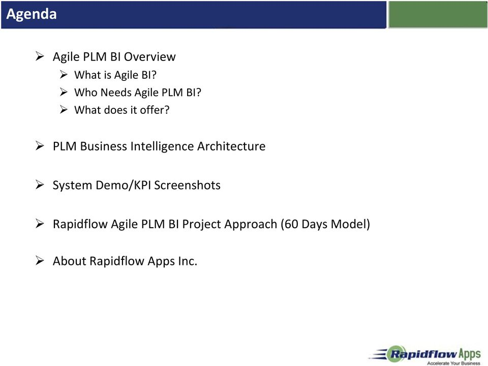 PLM Business Intelligence Architecture System Demo/KPI