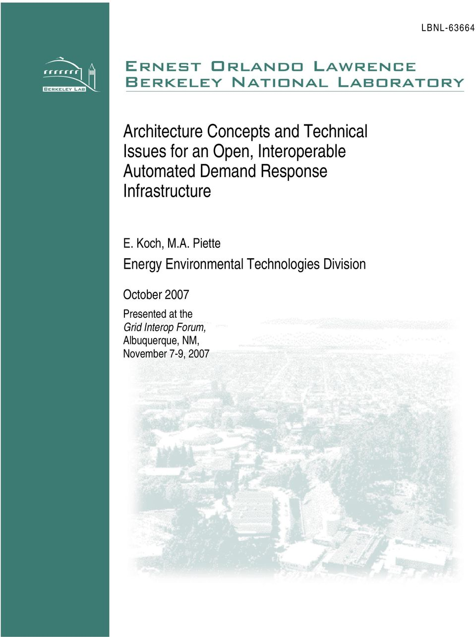 tomated Demand Response Infrastructure E. Koch, M.A.