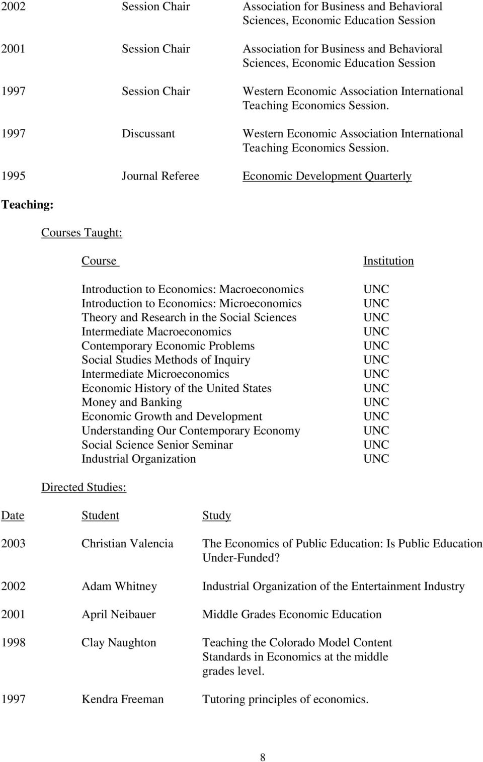 1995 Journal Referee Economic Development Quarterly Teaching: Courses Taught: Course Introduction to Economics: Macroeconomics Introduction to Economics: Microeconomics Theory and Research in the