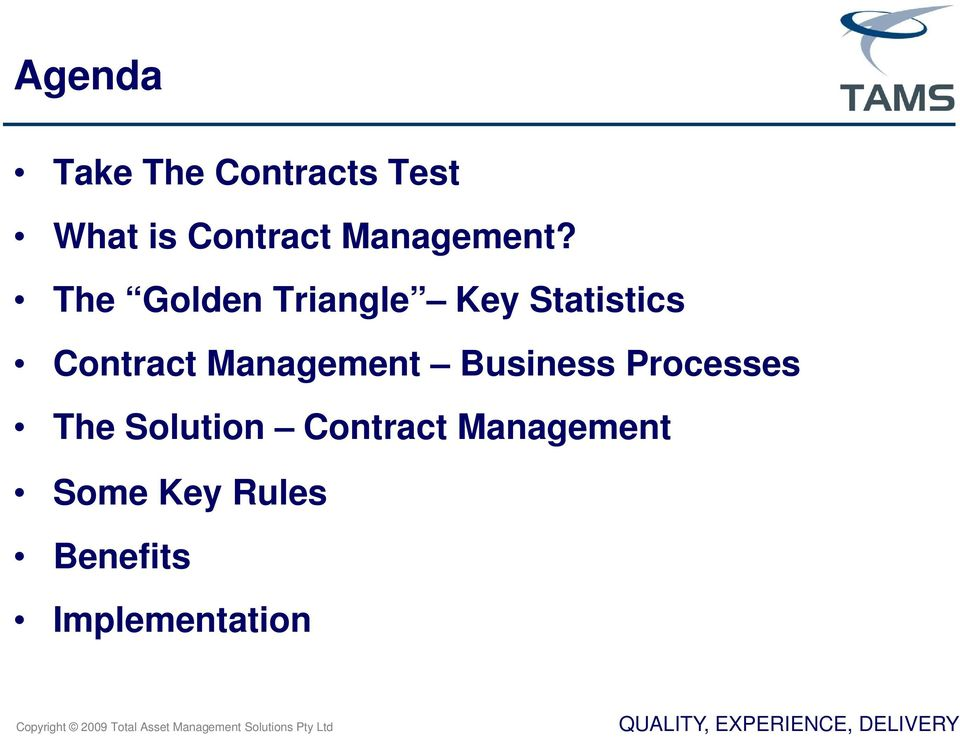 The Golden Triangle Key Statistics Contract