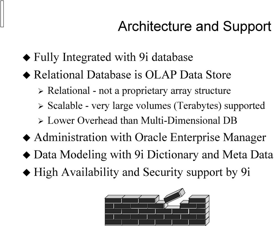 (Terabytes) supported Lower Overhead than Multi-Dimensional DB Administration with Oracle
