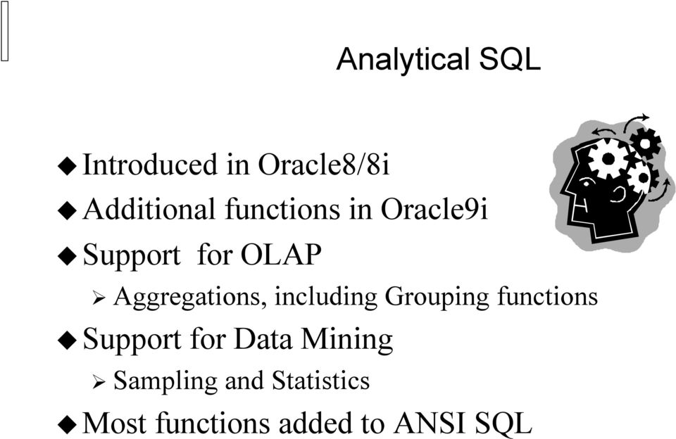 including Grouping functions Support for Data Mining