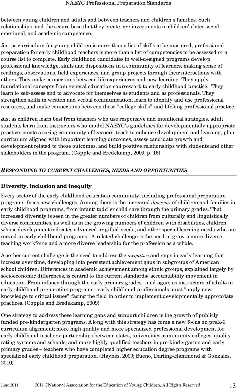 2010 NAEYC Standards for Initial & Advanced Early Childhood