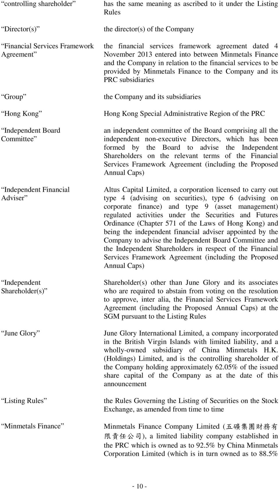 between Minmetals Finance and the Company in relation to the financial services to be provided by Minmetals Finance to the Company and its PRC subsidiaries the Company and its subsidiaries Hong Kong
