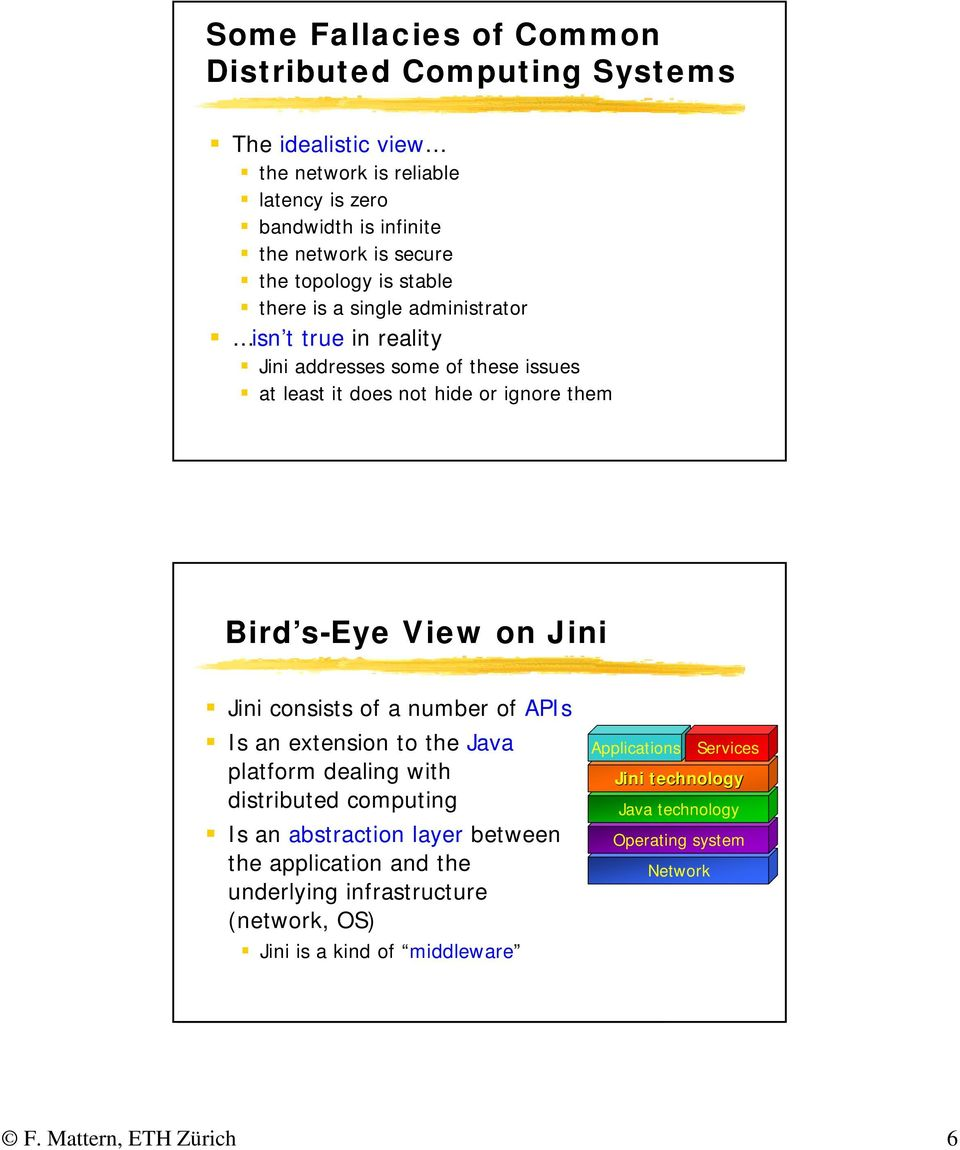 14 Bird s-eye View on Jini Jini consists of a number of APIs Is an extension to the Java platform dealing with distributed computing Is an abstraction layer between the