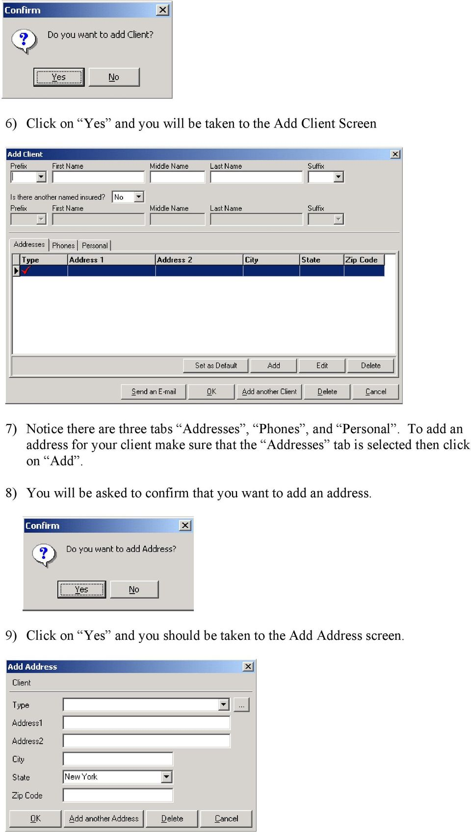 To add an address for your client make sure that the Addresses tab is selected then