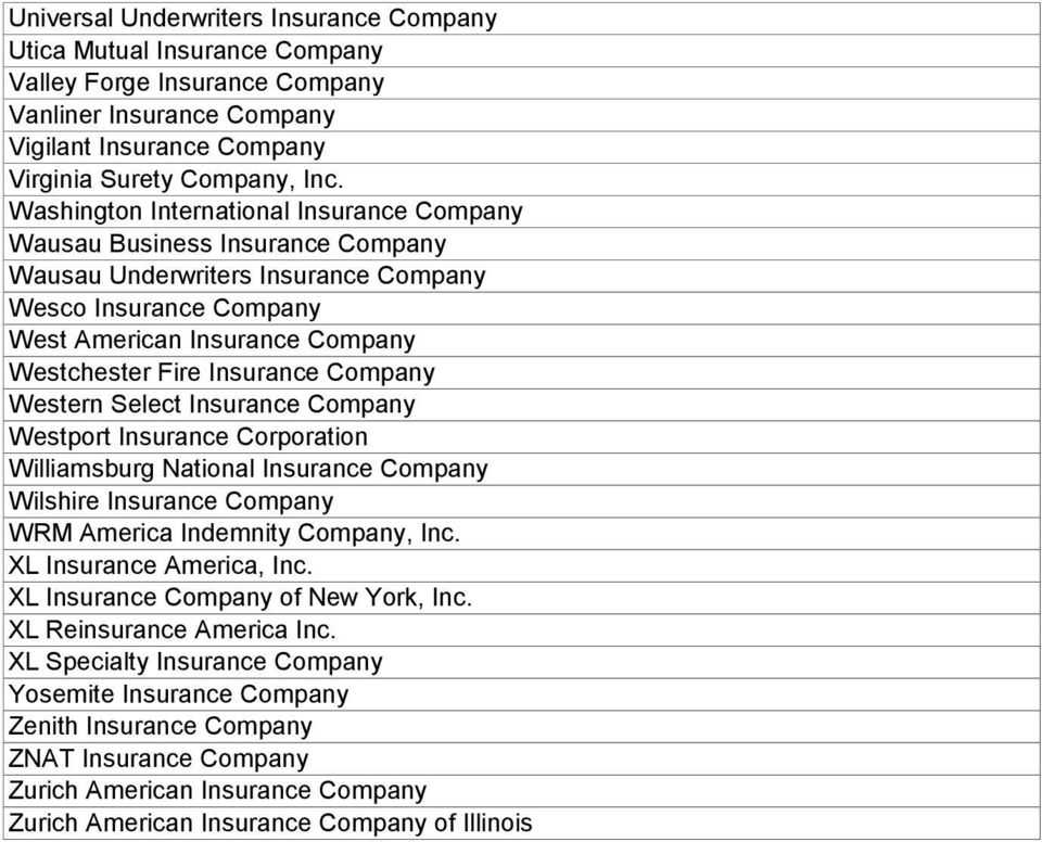 Company Western Select Insurance Company Westport Insurance Corporation Williamsburg National Insurance Company Wilshire Insurance Company WRM America Indemnity Company, Inc.