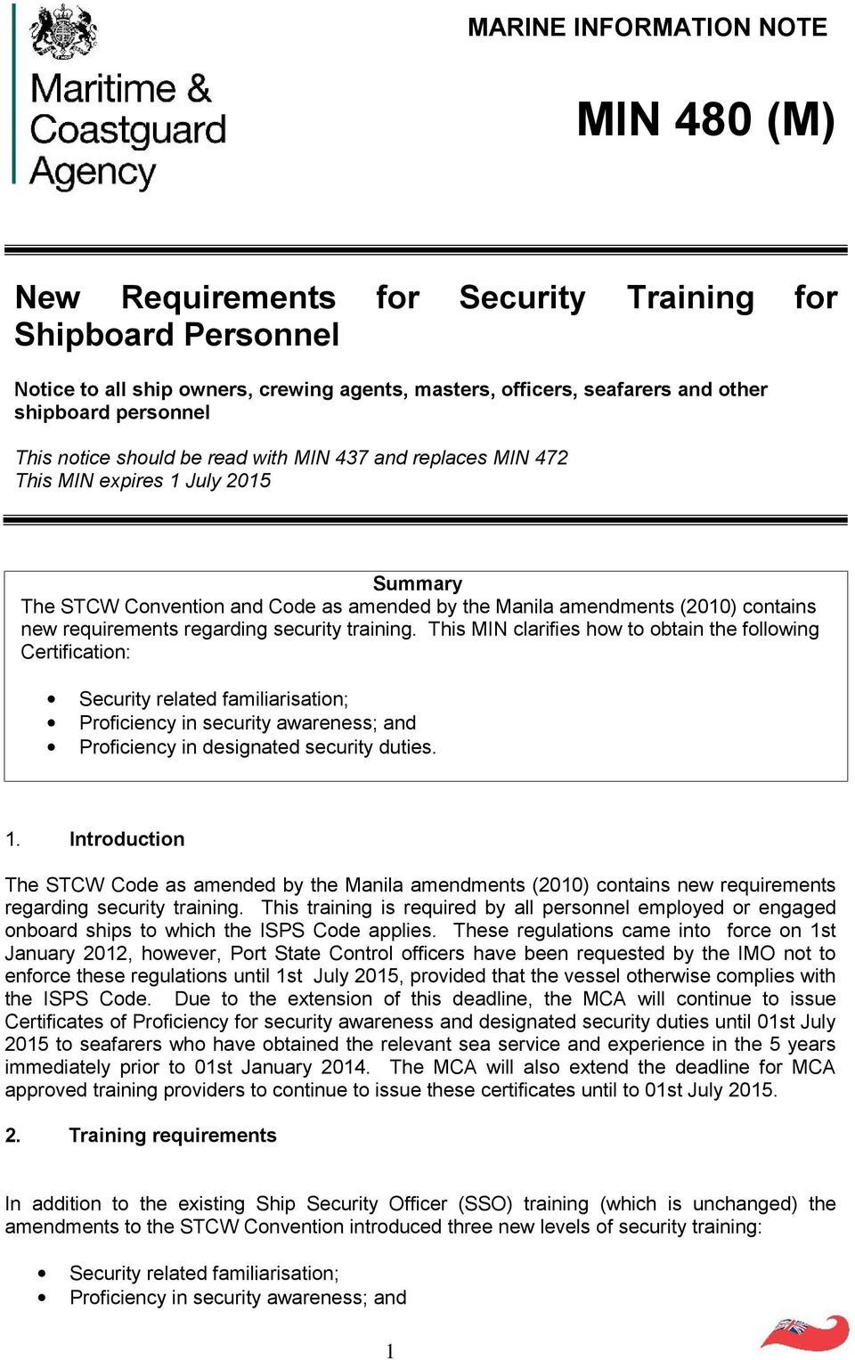 amendments (2010) contains new requirements regarding security training.