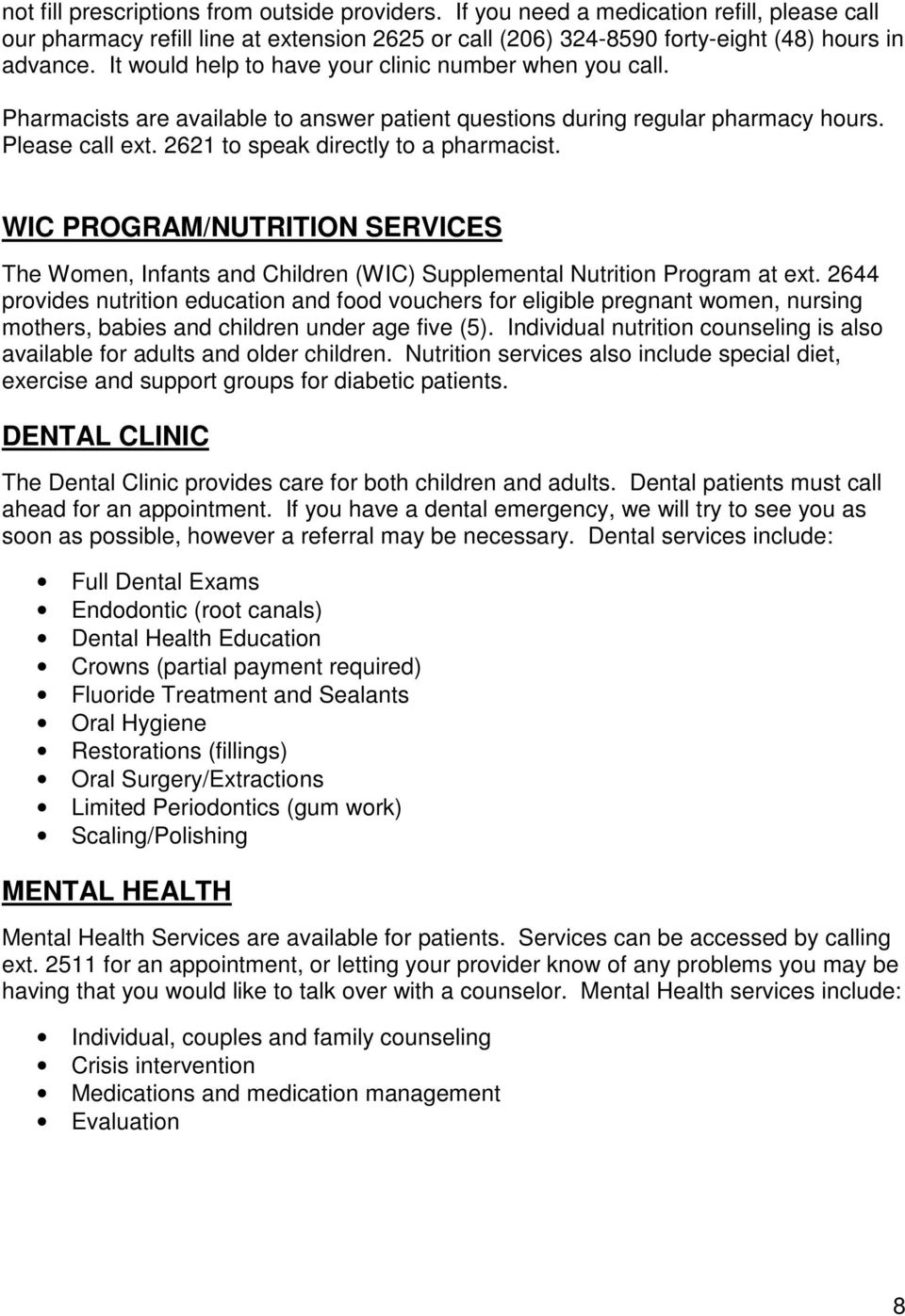 WIC PROGRAM/NUTRITION SERVICES The Women, Infants and Children (WIC) Supplemental Nutrition Program at ext.