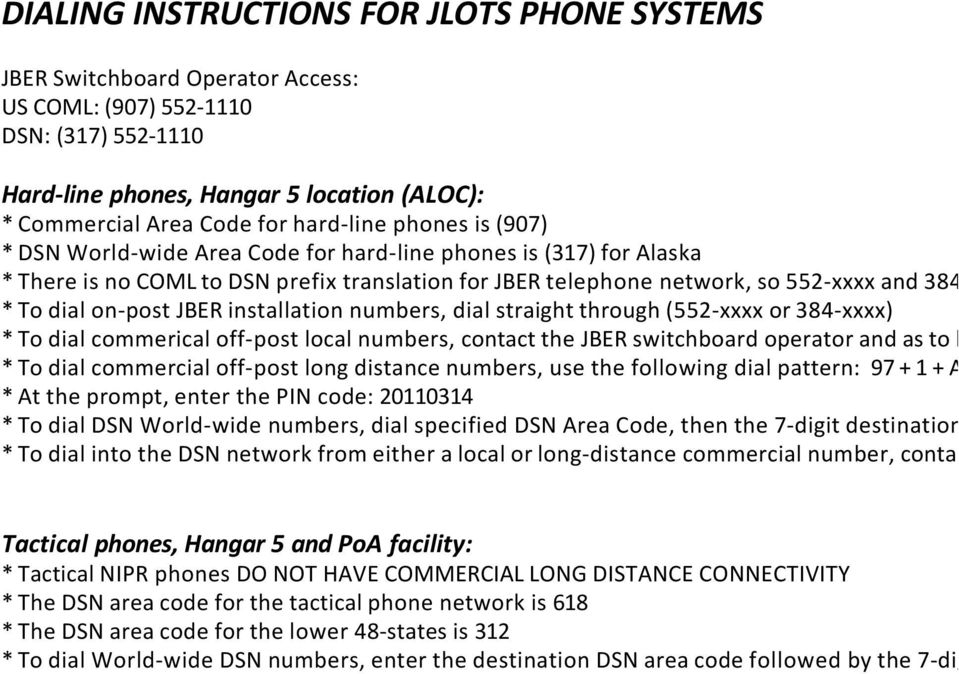 DIALING INSTRUCTIONS FOR JLOTS PHONE SYSTEMS - PDF