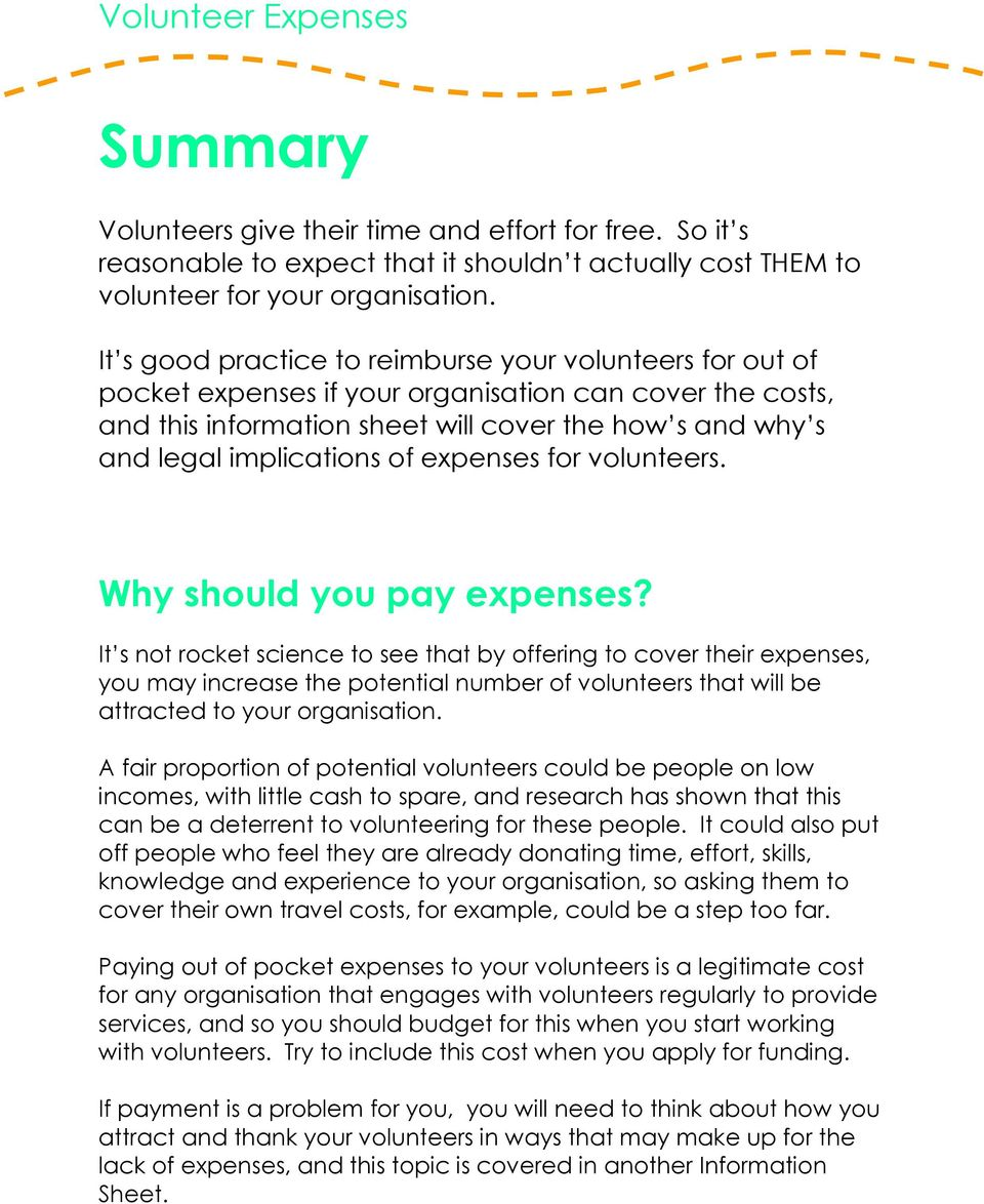 of expenses for volunteers. Why should you pay expenses?
