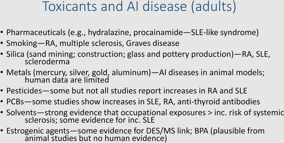 scleroderma Metals (mercury, silver, gold, aluminum) AI diseases in animal models; human data are limited Pesticides some but not all studies report increases in RA and
