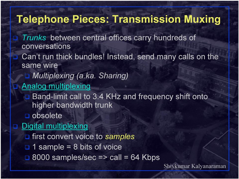 Sharing) Analog multiplexing Band-limit call to 3.