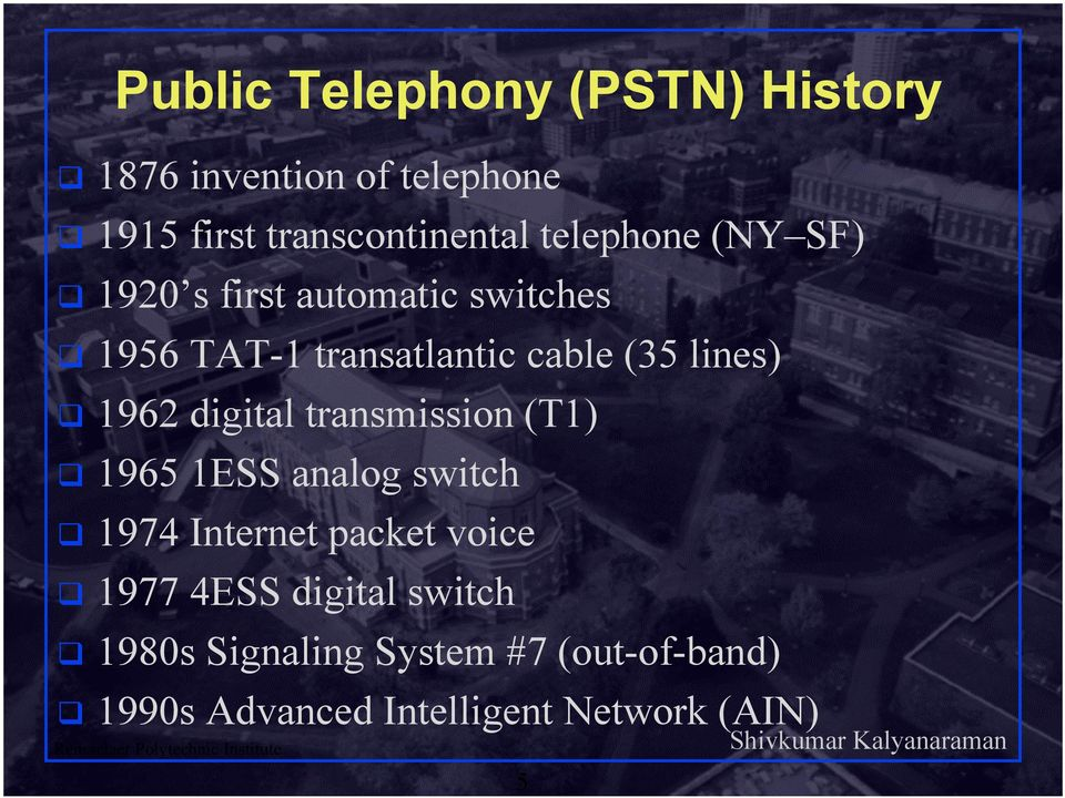 1962 digital transmission (T1) 1965 1ESS analog switch 1974 Internet packet voice 1977 4ESS