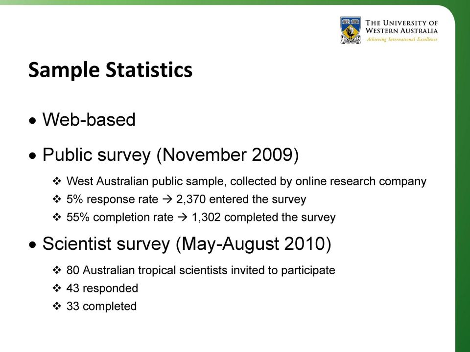 survey 55% completion rate 1,302 completed the survey Scientist survey (May-August