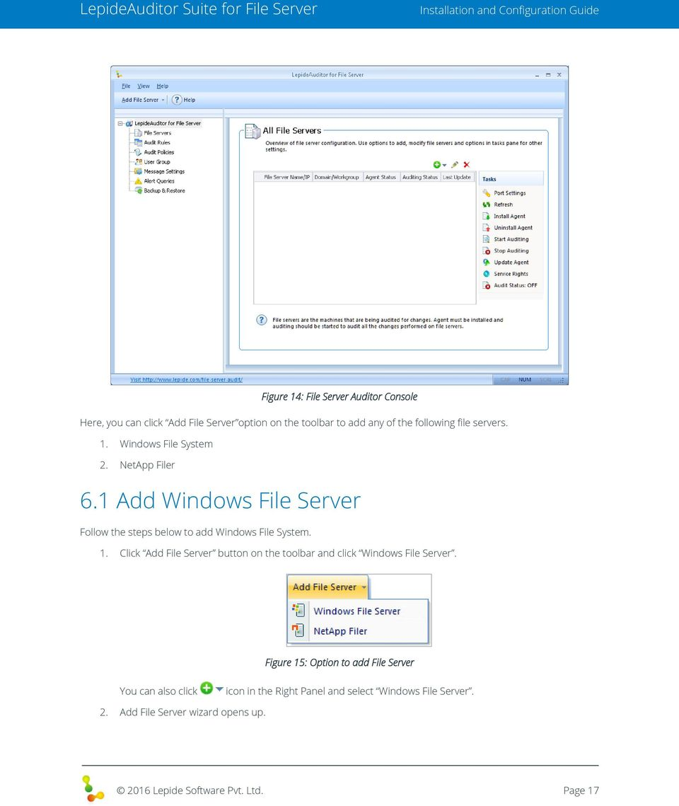 Figure 15: Option to add File Server You can also click icon in the Right Panel and select Windows File Server. 2.