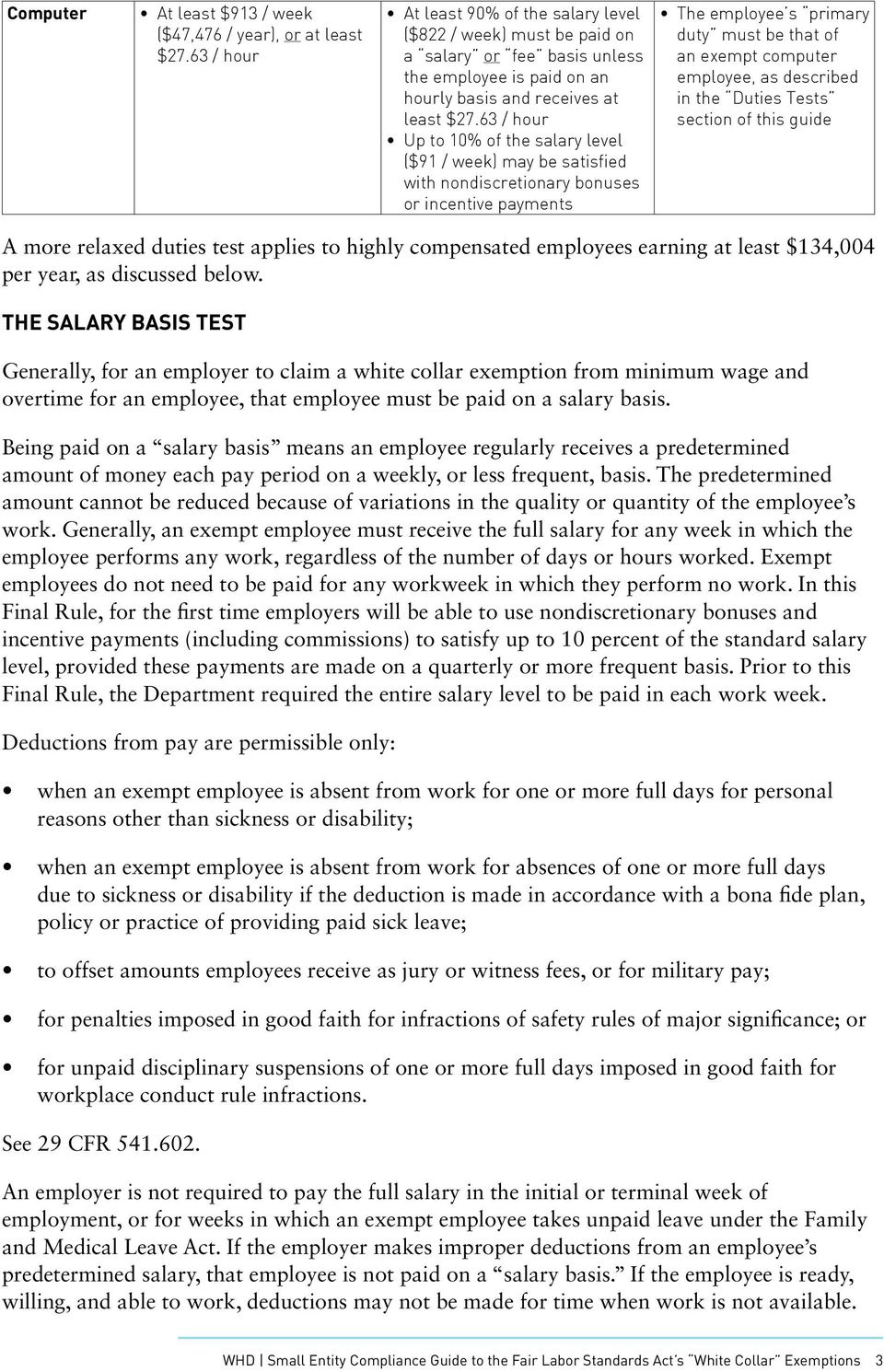 63 / hour Up to 10% of the salary level ($91 / week) may be satisfied with nondiscretionary bonuses or incentive payments The employee s primary duty must be that of an exempt computer employee, as
