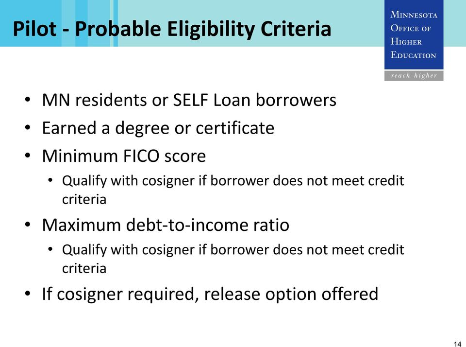 not meet credit criteria Maximum debt-to-income ratio Qualify with cosigner if