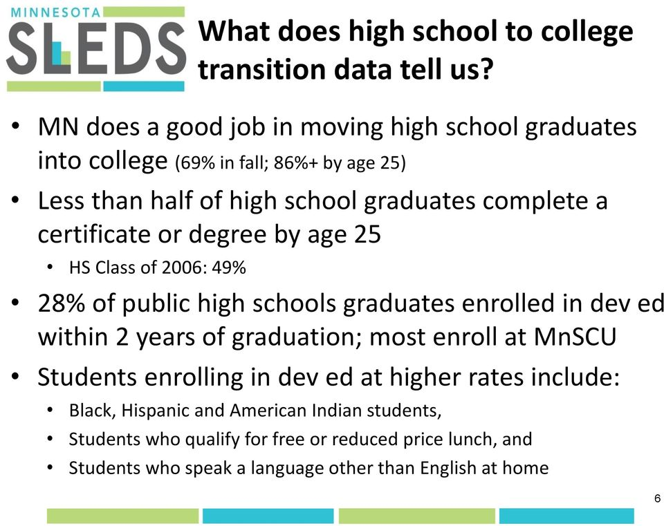 certificate or degree by age 25 HS Class of 2006: 49% 28% of public high schools graduates enrolled in dev ed within 2 years of graduation; most